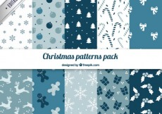 Free vector Blue christmas patterns pack #31663
