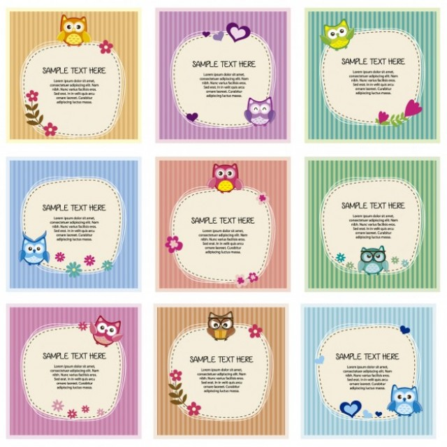 Free vector Card collection with owls everywhere #33793