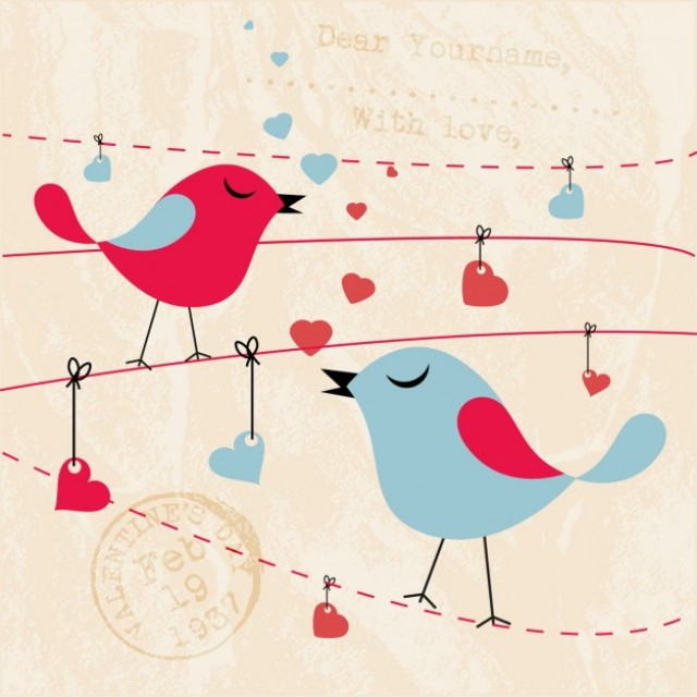 Free vector Card with lovely birds #32716