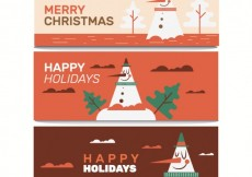 Free vector Chirstmas banners with funny snowman #31926