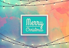 Free vector Chistmas lights on hand painted background #32162