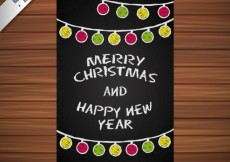Free vector Christmas and new year card in blackboard style #31992