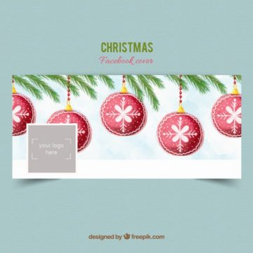 Free vector Christmas balls facebook cover #32856
