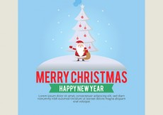 Free vector Christmas card template with santa claus #31752