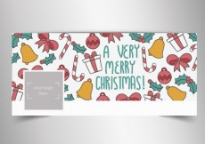 Free vector Christmas facebook cover in sketchy style #32696