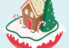 Free vector Christmas gingerbread house #31938