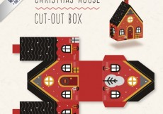 Free vector Christmas house box in red and black colors #32206
