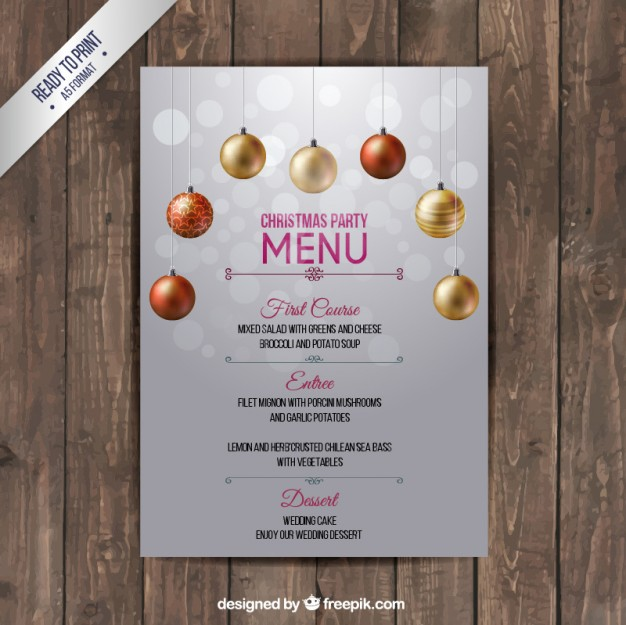 Free vector christmas menu template 28421 – Free Christmas Dinner Menu Template