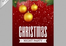 Free vector Christmas night party poster #34581