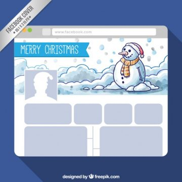 Free vector Christmas snowman facebook cover #33028