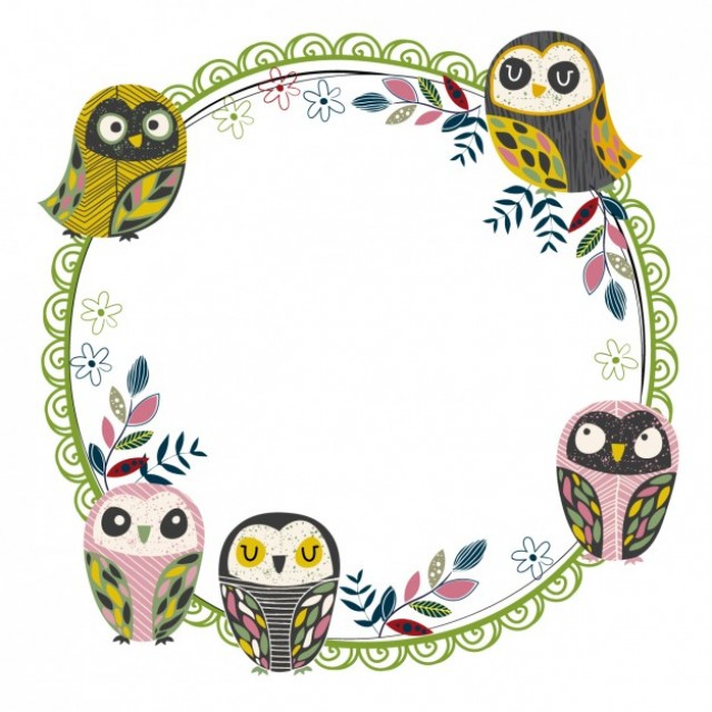 Free vector Circular frame with owls #33882
