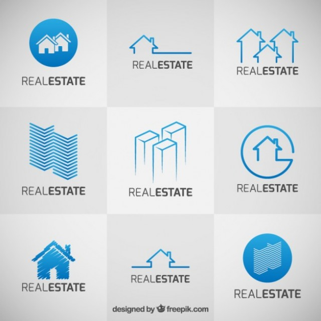 Free vector Collection of blue real estate logos #33266