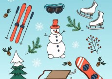 Free vector Collection of hand drawn winter elements #32010