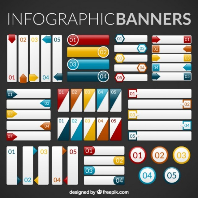 Free vector Collection of infographic banners #32986