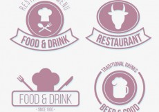 Free vector Collection of restaurant badges #30727
