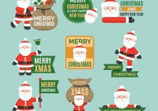Free vector Collection of santa claus badges #31446
