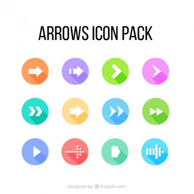 Free vector Colored arrow icons pack #32458