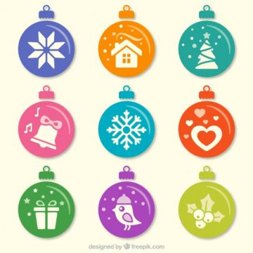 Free vector Colored christmas baubles collection #34125