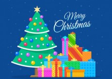 Free vector Colored christmas tree and gifts #32637