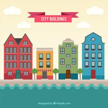 Free vector Colored city buildings #28787