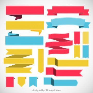 Free vector Colored collection of retro ribbons #29513