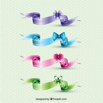 Free vector Colored retro ribbons #32172