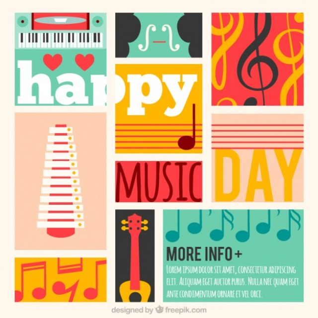 Free vector Colorful music day card #30096