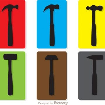 Free vector Colorful Silhouette Hammers Vector Pack #34612