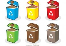 Free vector Colorful Trash Set Vector Pack #33586