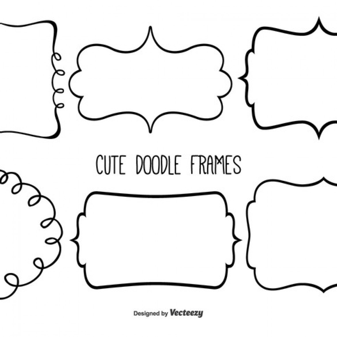 free vector cute doodle frame set 31625 my graphic hunt