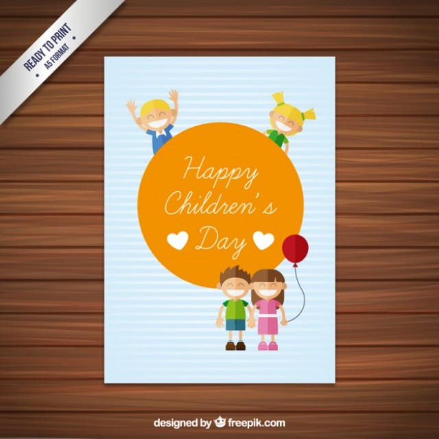 Free vector Cute happy children's day card #32990