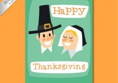Free vector Cute thanksgiving card #33298