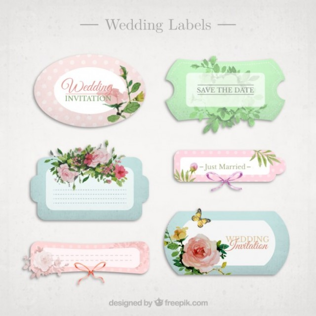 Free vector Cute wedding labels #33509