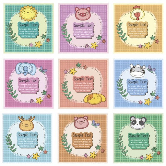 Free vector Cute wild animals cards #34012