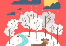 Free vector Cute winter landscape #31345