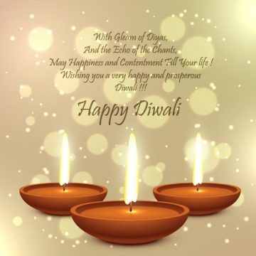 Free vector Diwali card with golden bokeh background #30837