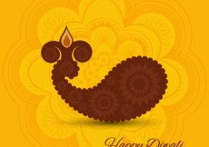 Free vector Diwali card with yellow background #29145