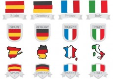 Free vector European Flags And Badges #33333