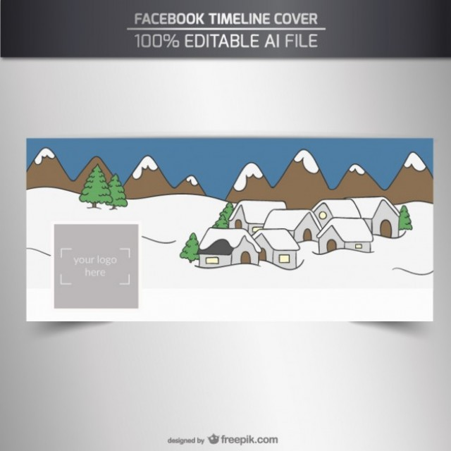 Free vector Facebook cover with a snowy village #32614