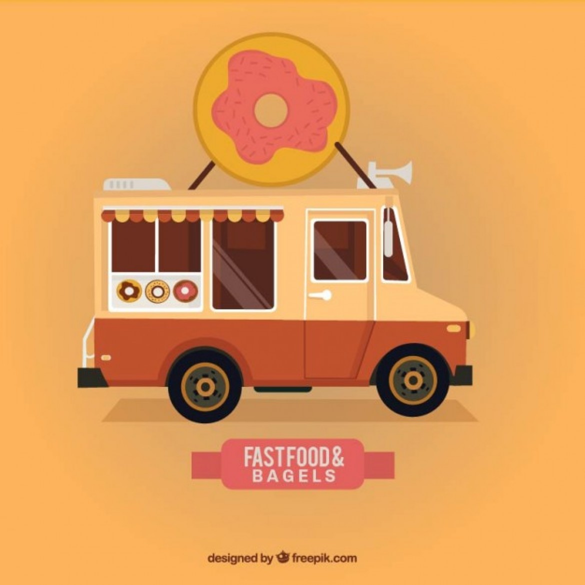 Free vector Fast food and bagels truck #32066