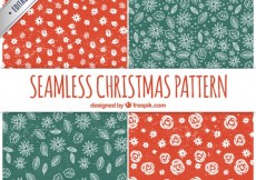 Free vector Floral christmas patterns in stamped style #31371