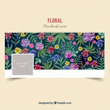 Free vector floral facebook cover in hand painted style #33006