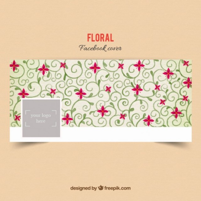 Free vector Floral facebook cover in ornamental style #32854