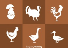 Free vector Fowl White Silhouette Icons #28486