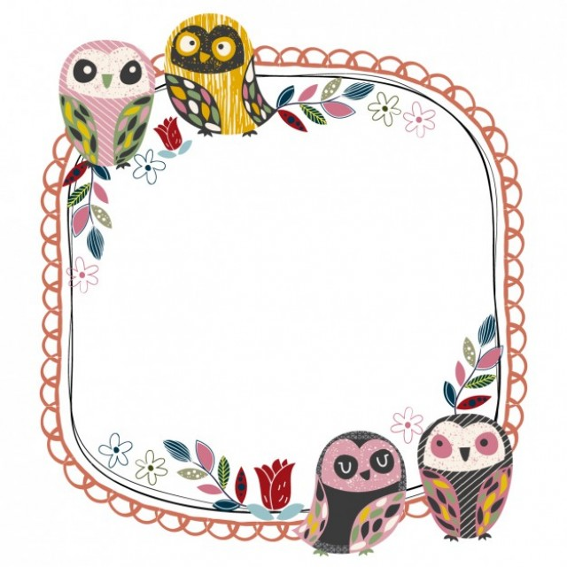Free vector Frame with owls #33894