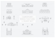 Free vector Free Vector Collection of Linear Icons and Illustrations with Buildings #31494