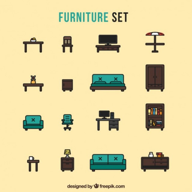 Free vector Furniture icons set #34046