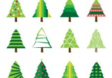 Free vector green christmas trees pack #30414