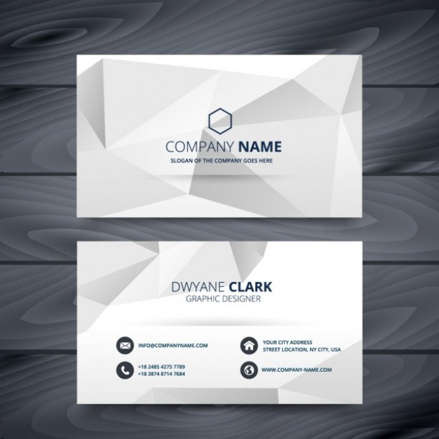 Free vector Grey business card in low poly style #32870