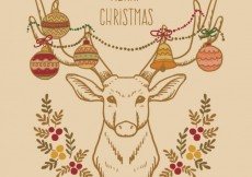 Free vector Hand drawn christmas reindeer card #33974